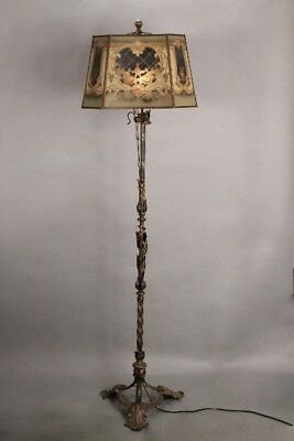 Antique Spanish Revival 1920's Floor Lamp With Original Metal Mesh Shade (10881)