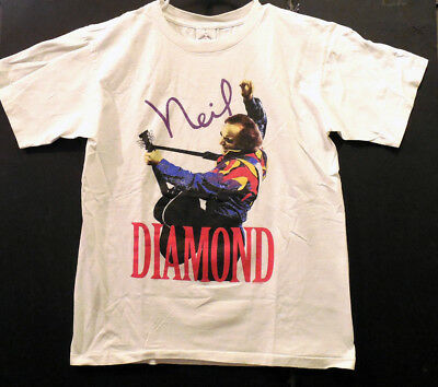 NEIL DIAMOND 1993 American Tour t-shiirt Large Orig. New Clean White 100% Cotton