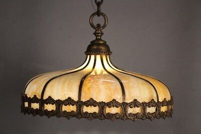 Beautiful Antique Brass And Slag Glass Dome-like Chandelier Circa 1920's (10891)