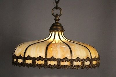 Spanish Revival Antique Brass And Slag Glass Dome-like Chandelier 1920's (10891)