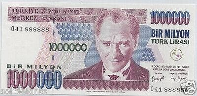 TURKEY 1000000 LIRA FANCY SOLID SERIAL # 888888 RARE NOTE LUCKY NUMBERS 8's