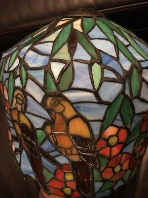 Vintage Tiffany style Stained Leaded slag Glass Bird /floral  Lamp Shade