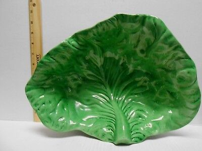 "BORDALLO PINHEIRO GREEN CABBAGE LEAF - 13"" Oval Serving Bowl - Portugal"