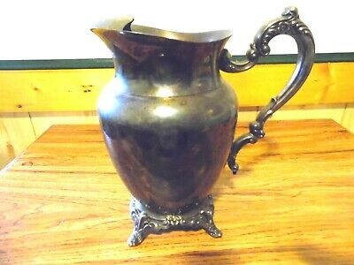 VINTAGE Antique Silver Serving Pitcher With Ice Catcher colonial design fancy