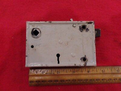 "Vintage Antique Rim Mount  Door Lock Old 3 x 4 1/2"" No Key  Latch Works"