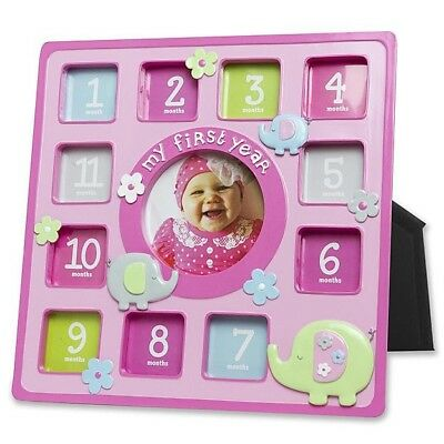 """Infant Girl's Collage Picture Frame """"My First Year"""" X 12 Monthly Baby Photos"""
