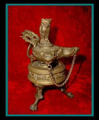 EXTRAVAGANT Large ANTIQUE Bronze ROMAN BYZANTINE Twin Font OIL LAMP w/OWL FINIAL