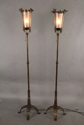 Antique Pair Of 1920s Spanish Revival Torchieres Attributed By Oscar Bach(10903)