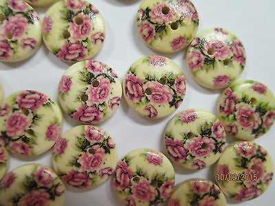10 x 15mm Painted Wooden Buttons Pale Pink Roses Design No.22