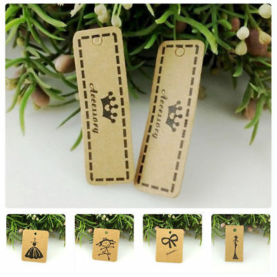 100PCS Brown Kraft Paper Tag Shop Product Price Tag Label Gifts Packaging Cards