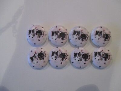 8 x 15mm Wooden BUTTONSTwo Cats Sewing or Scrapbooking No1046