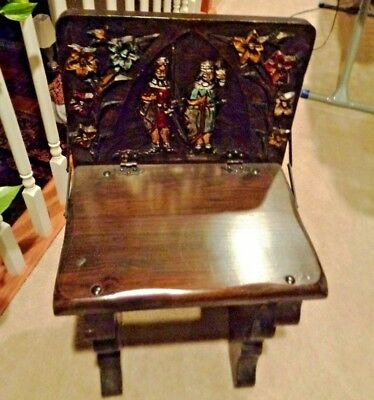 Antique Solid Dark Wood Small Accent Table or Children Hutch Chair Art Painted