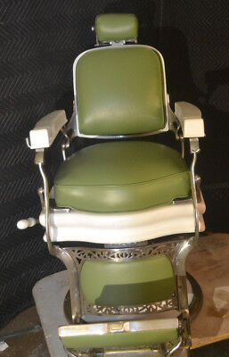Vintage 1920s Koken Grand Central Terminal Barber Chair, green, seat redone