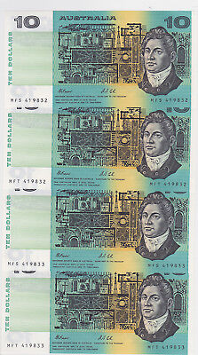 R313 $10 Fraser/Cole Twin Set of Four Notes Consecutive Prefixes and serial aUnc