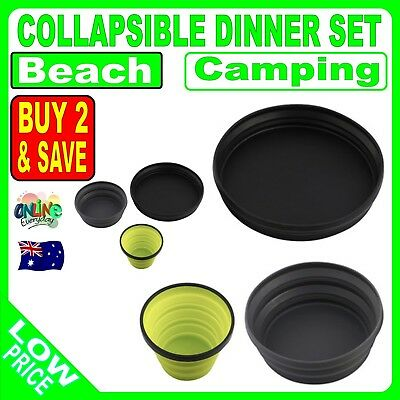 Collapsible Dinner Set 3 Piece Cup Bowl Plate Foldable Serving Camping Picnic