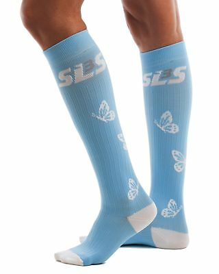 SLS3 Women's FX Compression Butterfly Socks, Azure/White, Small/Medium