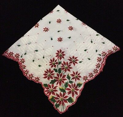 Vintage Collectible White Red Green Poinsettia Floral Christmas Hankie (RF328)