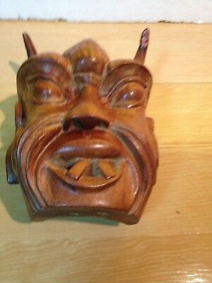 Unique Vintage Intricately Hand Carved Wood  Oriental Man Face Head W. Two Horns