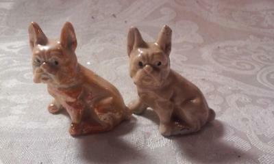 Vintage Porcelain Pair of French Bulldog Figurines, Lt. Browns/Shiny