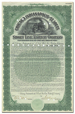 Chicago, Indianapolis and St. Louis Short Line Railway Company Bond Certificate