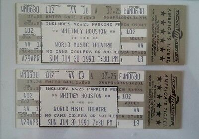 2 WHITNEY HOUSTON  Concert Tickets,   June 30,1991  'I'M YOUR BABY TONIGHT' TOUR