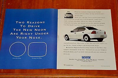 1994 Dodge Neon Sedan Large American Ad - Retro 1990S Auto Old School
