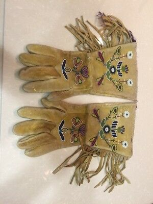 Antique Crow Indian Native American Beaded Guantlets