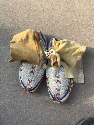 Great Pair Or Ute Indian Moccasins. Native American. Late 1800s