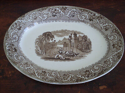 Romantic Staffordshire Brown Transfer Ware Platter RHINE by JFW Foley Potteries