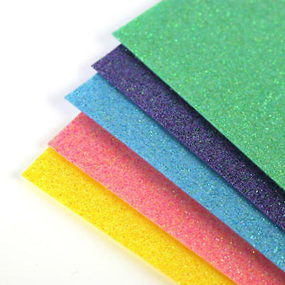 Glitter Felt - 5 x A4 Sheets Glitter Felt Sheets - Bright Shades - Sparkly Craft