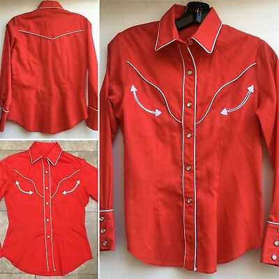 Vintage Western Shirt Red W/ White Accent Klikit (pearl look) Snaps Cowgirl