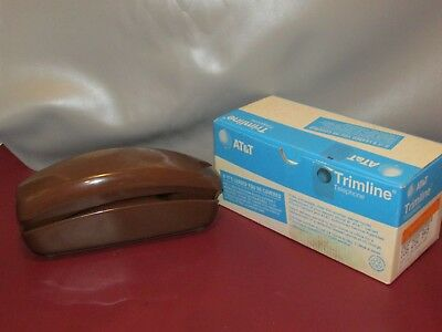 Vintage AT&T Rotary Trimline Phone,Brown WITH BOX  NO CORDS