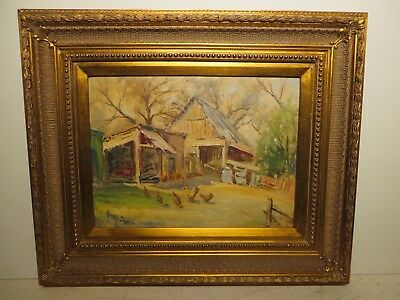 "12x16 org. 1960 oil painting by Rolla Taylor of ""The Old Barn w/ Chickens"""