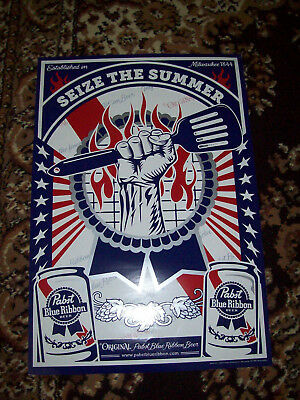 Pabst Blue Ribbon Beer Seize the Summer Poster Sign NOS 2012