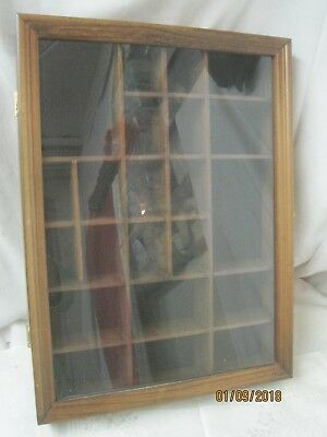 Vintage 1970's Wood & Glass wall mount Curio Miniatures Cabinet