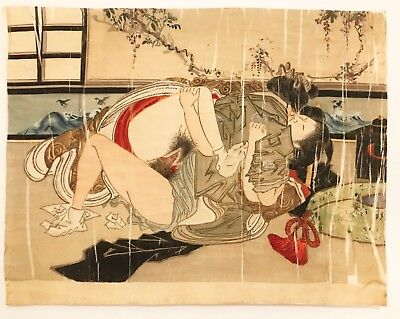 Antique japanese original silk Shunga 3 outsider japan folk art vtg