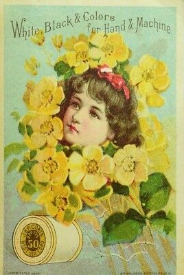 1887 J & P Coats Spool Cotton Girl's Head In Buttercup Bouquet P82