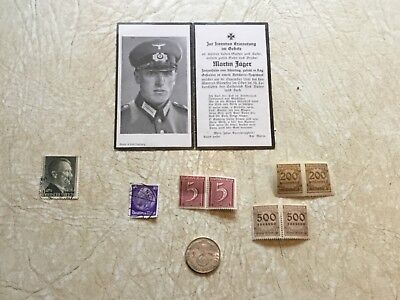 SILVER 2 Mark 1937  MINT A *WW2 German Soldier  Death Card * 8 HITLER STAMPS LOT