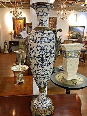 Large Antique Style  Hand Painted Porcelain Vase with Bronze Mounts
