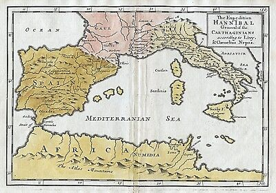 1717 Spain France Italy Hannibal Expedition Genuine Antique Map Hand Coloured