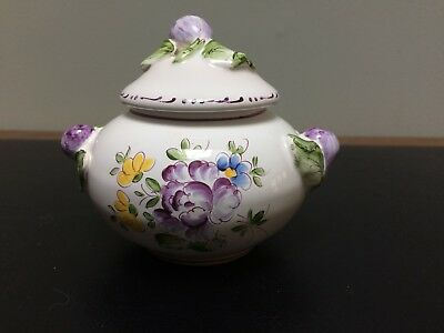 French Faience Sugar Bowl FIGS Faiencerie do Clamecy