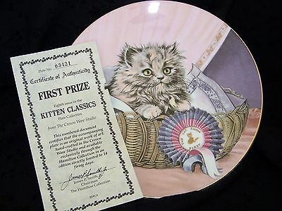 """"""" First Prize """" Kitty Cat Royal Worcester Bone China Plate 24K Gold Trim Mint"""