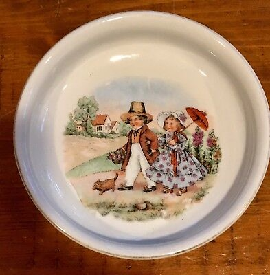 "Vintage German Children's Feeding Plate, ""Young Boy and Girll.."" Circa 1910-20"