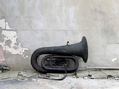 Antique Military Tuba with Original Leather Strap & Fantastic Patina