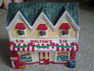 COCA COLA TOWNE SQUARE 1996 LIGHTED VILLAGE BUILDING WALTON'S 5 & 10 orig box