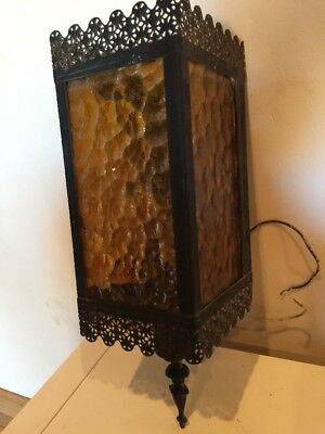 Vintage Wrought Iron & Amber Glass Wall Mount Sconce Outdoor Light Carriage Lamp