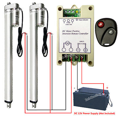 """2 Set 16"""" 12V DC Linear Actuator W/ Remote Control Controller for Wedding System"""