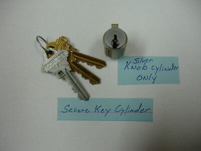 Schlage Silver Secure Key Cylinder For Residential Knobs With Keys--Knobs Only