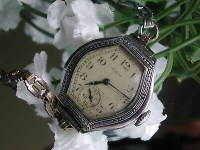 1930's Ladies Art Deco Nickel Enamel Elgin Watch ~ Runs