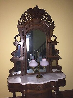 Walnut marble top Etagere Console And Mirror